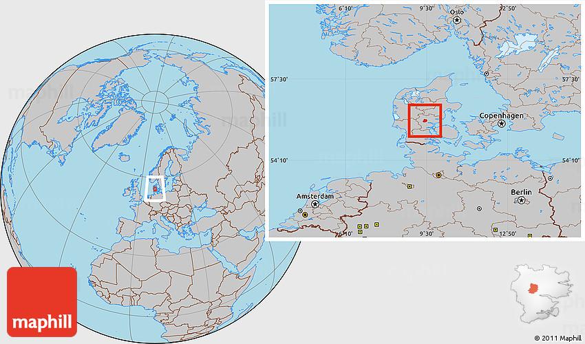Gray Location Map Of Jelling - Amsterdam world map location
