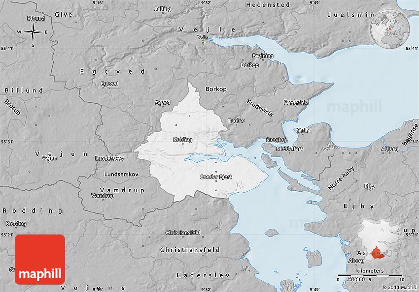 Gray Map of Kolding