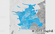 Political Shades 3D Map of Vestsjalland, desaturated