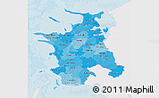 Political Shades 3D Map of Vestsjalland, single color outside