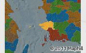 Political Map of Korsor, darken
