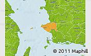 Political Map of Korsor, physical outside