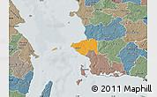Political Map of Korsor, semi-desaturated