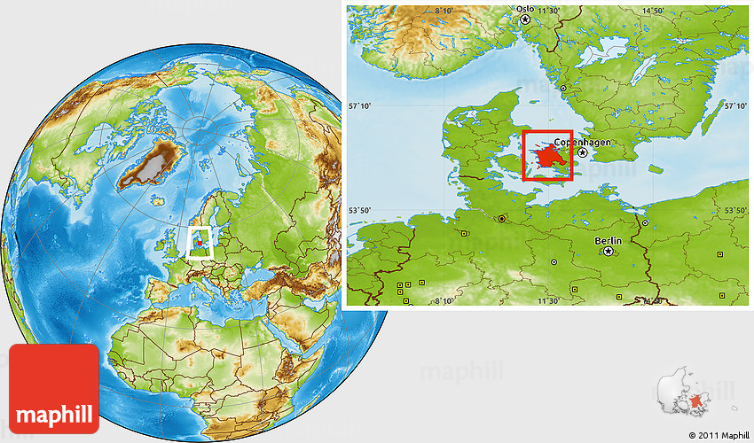 Physical Location Map of Vestsjalland