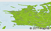 Physical Panoramic Map of Vestsjalland