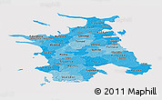 Political Shades Panoramic Map of Vestsjalland, cropped outside