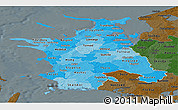 Political Shades Panoramic Map of Vestsjalland, darken