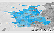 Political Shades Panoramic Map of Vestsjalland, desaturated