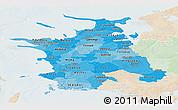 Political Shades Panoramic Map of Vestsjalland, lighten