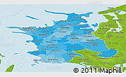 Political Shades Panoramic Map of Vestsjalland, physical outside