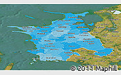 Political Shades Panoramic Map of Vestsjalland, satellite outside