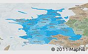 Political Shades Panoramic Map of Vestsjalland, semi-desaturated