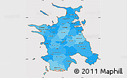 Political Shades Simple Map of Vestsjalland, cropped outside