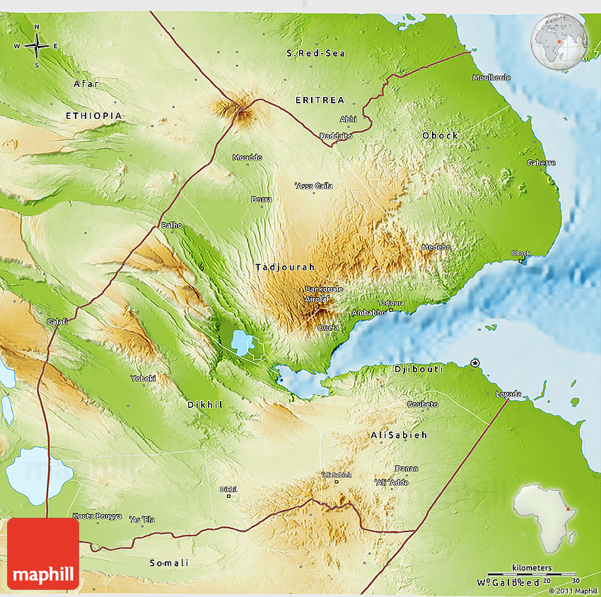 Physical 3D Map of Djibouti