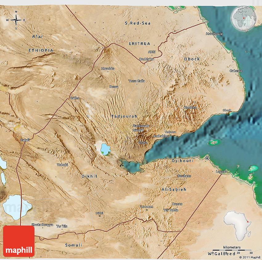 Satellite D Map Of Djibouti - Djibouti map