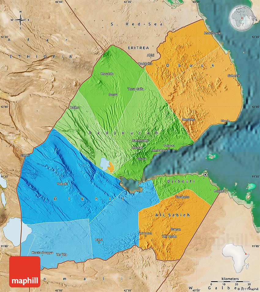 djibouti africa map satellite
