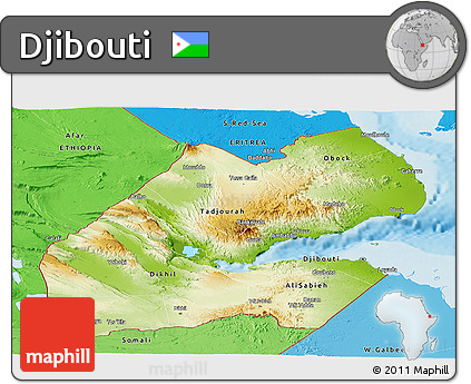 Free Physical Panoramic Map of Djibouti political shades outside