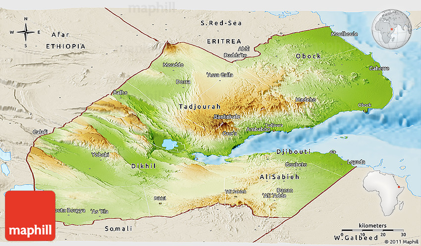 Physical Panoramic Map of Djibouti shaded relief outside