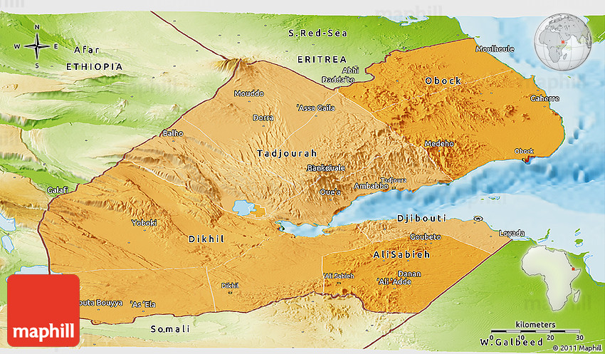 Political shades panoramic map of djibouti physical outside