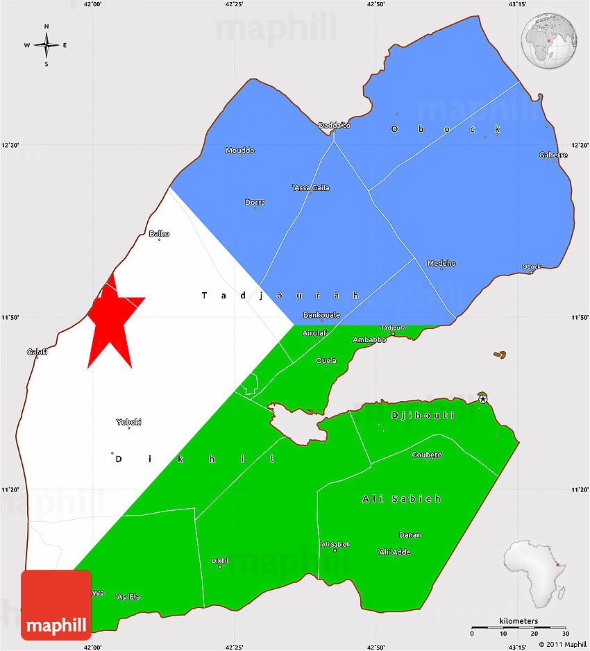 Flag Simple Map of Djibouti on