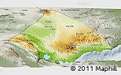 Physical Panoramic Map of Tadjourah, semi-desaturated