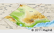 Physical Panoramic Map of Tadjourah, shaded relief outside