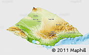 Physical Panoramic Map of Tadjourah, single color outside