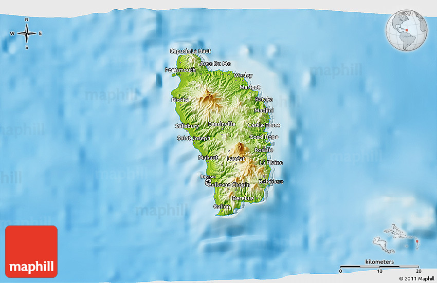 Physical 3D Map of Dominica