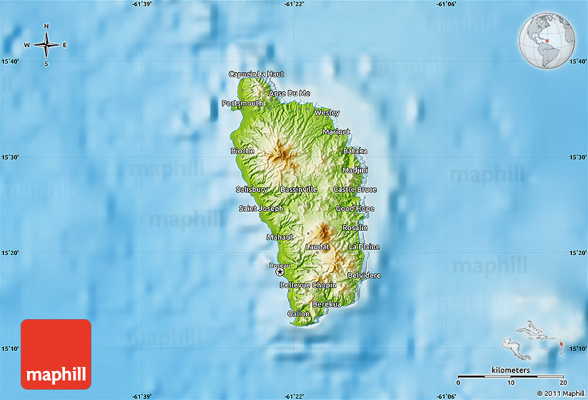 Physical Map of Dominica on