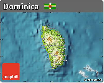 Free Physical Map Of Dominica Satellite Outside - Physical map of dominica