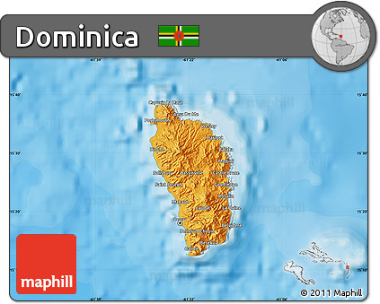 Free Political Map Of Dominica Shaded Relief Outside Bathymetry Sea - Dominica political map