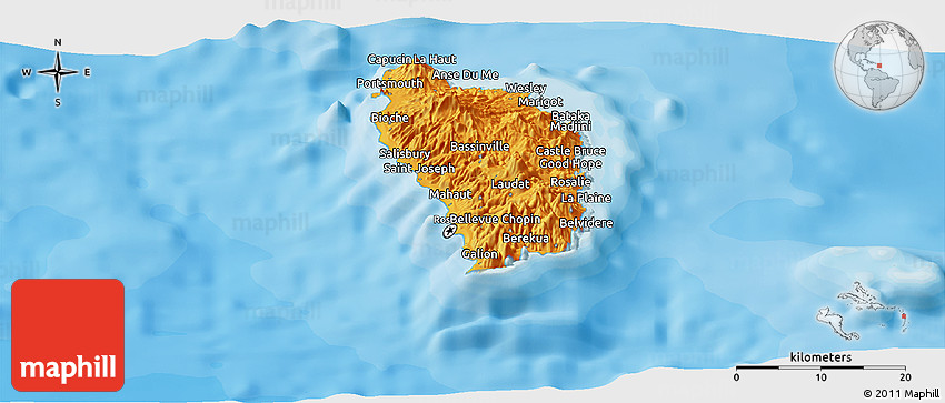 Political Panoramic Map Of Dominica - Dominica political map