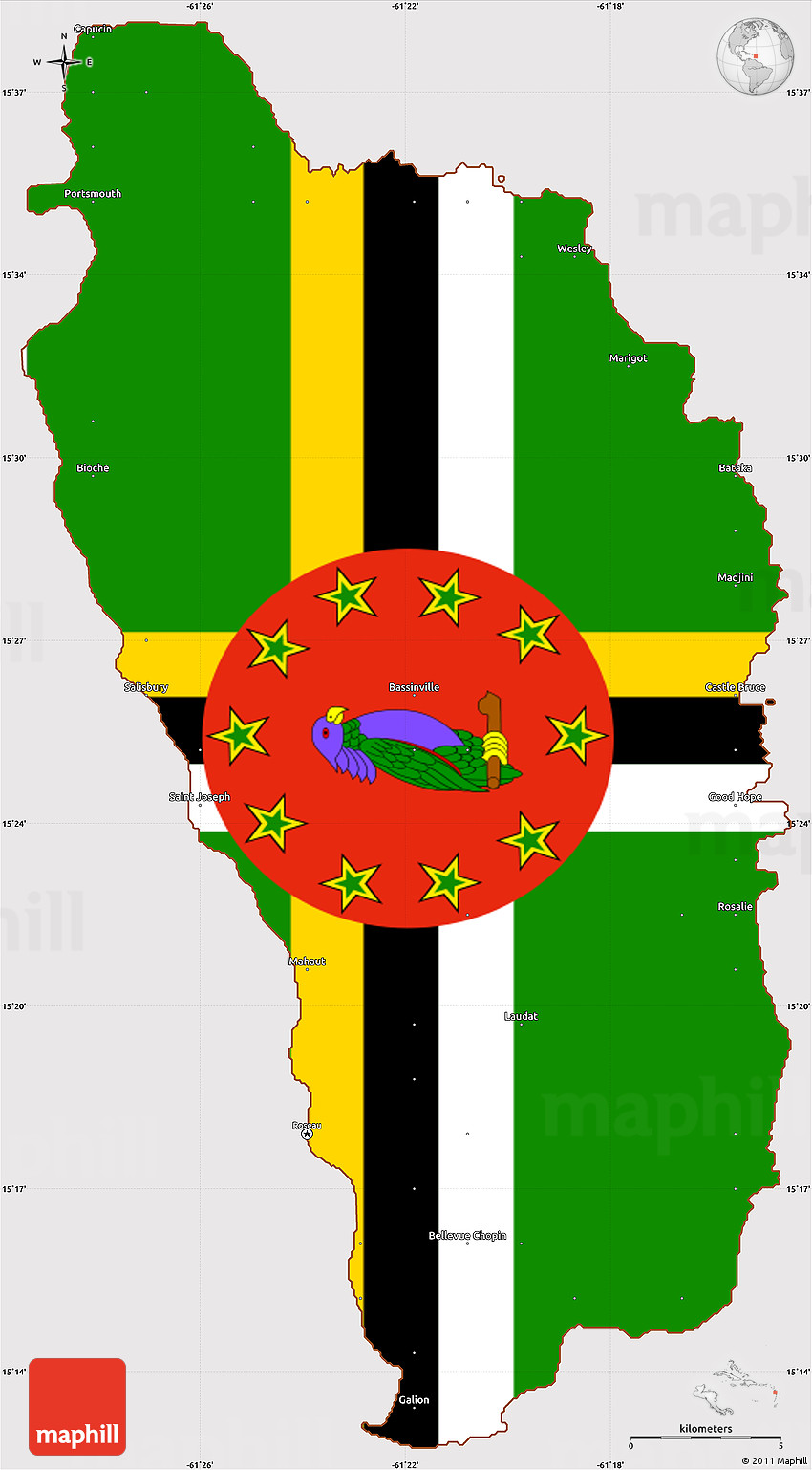 Flag Simple Map of Dominica flag rotated