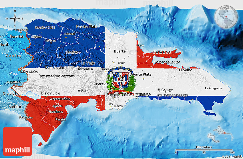 Flag 3D Map of Dominican Republic political shades outside