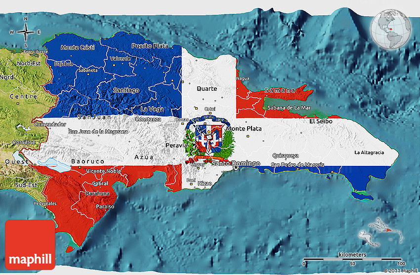 Flag D Map Of Dominican Republic Satellite Outside - Dominican republic map