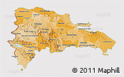 Political Shades 3D Map of Dominican Republic, cropped outside