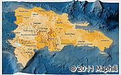 Political Shades 3D Map of Dominican Republic, darken