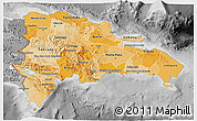 Political Shades 3D Map of Dominican Republic, desaturated