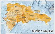 Political Shades 3D Map of Dominican Republic, lighten