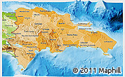 Political Shades 3D Map of Dominican Republic, physical outside