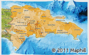 Political Shades 3D Map of Dominican Republic, satellite outside, bathymetry sea