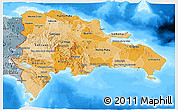 Political Shades 3D Map of Dominican Republic, semi-desaturated, land only