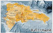 Political Shades 3D Map of Dominican Republic, semi-desaturated