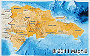 Political Shades 3D Map of Dominican Republic, shaded relief outside, bathymetry sea