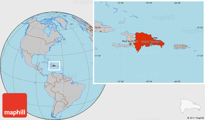 Gray Location Map of Dominican Republic
