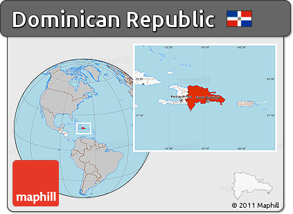 Free Gray Location Map of Dominican Republic, highlighted ...