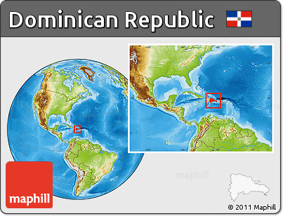 Free Physical Location Map of Dominican Republic within the