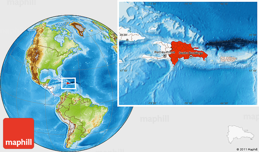 Physical Location Map Of Dominican Republic Highlighted Continent - Dominican republic map