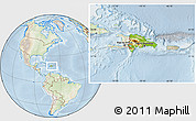 Physical Location Map of Dominican Republic, lighten