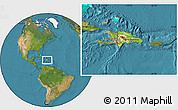 Physical Location Map of Dominican Republic, satellite outside